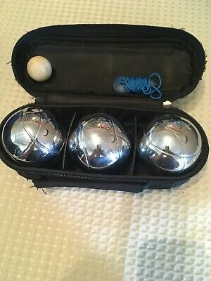 Set Of 3 French Boules Pentaque In Carry Case  With Measure, Jack & Instructions • 12.99£