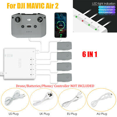 Battery Fast Charging Hub Dock 6 IN 1 Charger For DJI Mavic AIR 2 Remote Control • 42.59£