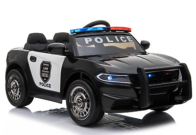12V Electric Kid Ride On Police Car 2.4G RC Siren Opening Side Door Twin Motor • 129.99£