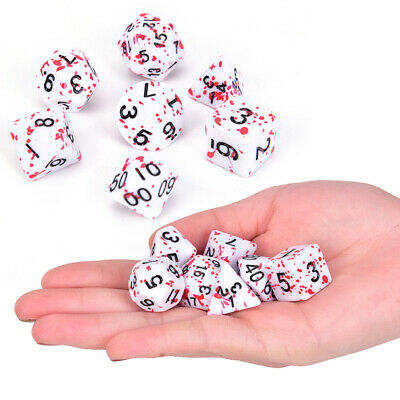 7Pcs/Set Polyhedral Games Dice Multi Sides Dice For Board Game Bloody Dice S1 • 4.41£