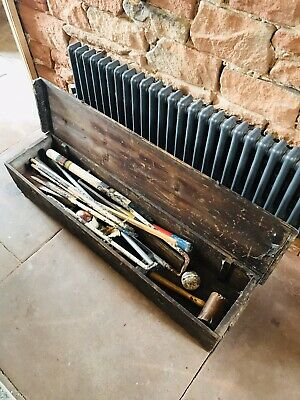 Vintage Croquet Equipment In Wooden Box • 61£