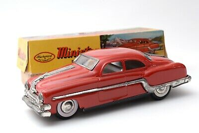 Vintage Tinplate Minister Delux Friction Drive Car In Red With Box • 25£