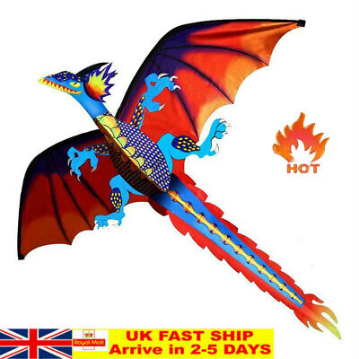 Ee_ 3d Flying Dragon Kite 328ft Large Line With Tail Outdoor Kids Play Toy Kindl • 12.17£