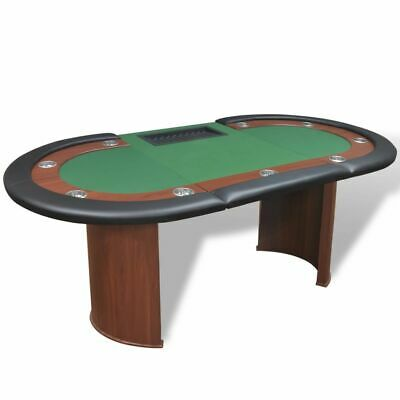 10-Player Poker Table With Dealer Area And Chip Tray Green • 233.99£