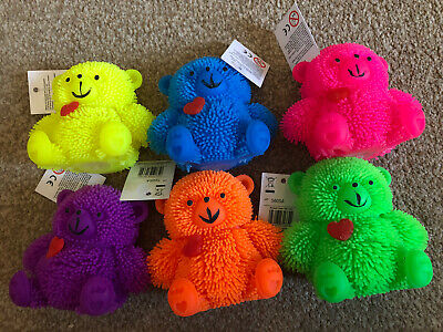 Set Of 6 Light Up Flashing Puffer Teddy Bear Sensory Autism Fidget Toy Stress • 12.99£