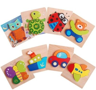 Wooden Animal Letter Puzzle Jigsaw Early Learning Baby Kids Educational Toys UK • 13.99£