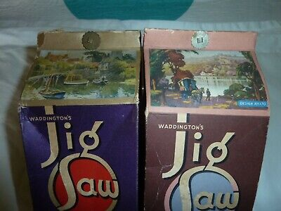 WADDINGTON VINTAGE JIGSAWS X2 - Complete & In Unusual Boxes • 8.99£