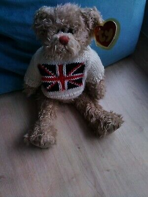 TY Jointed Teddy With Union Jack Jumper 12  With Tag And Tag Protector • 9£