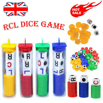 LCR Left Center Right 24 Playing Chips 3 Or More Players Family Dice Party Game • 6.52£