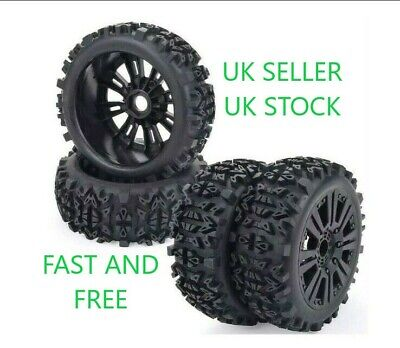😀1/8 Rc Car Off Road Buggy Wheel Tyre Set X4 17mm Hex Arrma Hpi Traxxas Hobao😀 • 29.98£