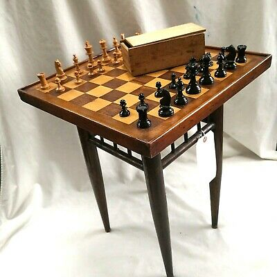 Vintage Inlaid Chess / Occasional Table & Chess Set  • 125£