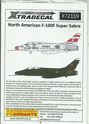 Xtradecal Decals 72119 F-100F Super Sabre Decals In 1:72 Scale • 7.50£