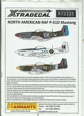 Xtradecal Decals 72131 P-51D Mustang IV Decals In 1:72 Scale • 7.50£