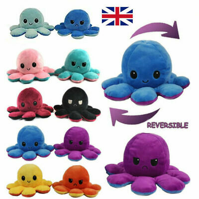 Double-Sided Flip Reversible Octopus Plush Toy Squid Stuffed Doll Toys • 4.69£