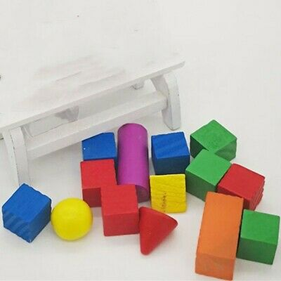 14Pcs/Set 3D Shapes Geometric Solids Wooden Math Games Toys • 4.64£