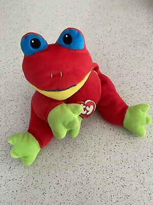 TY Pillow Pals Ribbit The Red Frog 1999 4th Generation ST 1998 TT Vgc • 6£