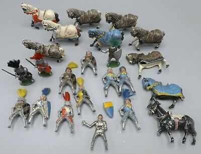 20 Vintage Lead Painted Figures Medieval Knights Horses Horseback Plus Extras UK • 65£