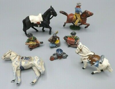 8 Vintage Lead Painted Figures Cowboy Native American Horses Plus Extra Worn • 16.99£