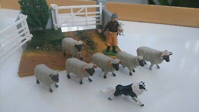 Britains Farm Animals Plastic, Vintage 1960s Sheep, Shepherd And Dog • 3.19£