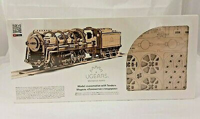 New Locomotive With Tender Ugears 3D Mechanical Wooden Model For Self Assembly • 7.99£