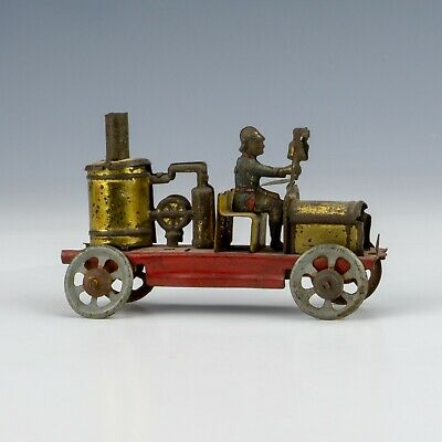 Antique German Tin Plate Fire Engine Penny Toy - Unusual! • 22£
