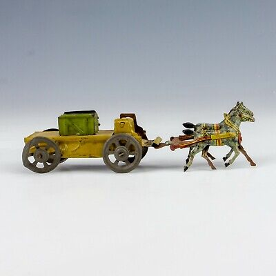 Antique German Tin Plate Penny Toy - Horse Drawn Wagon - Unusual! • 3.70£