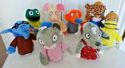 Set Of 8 Hand Puppets Cat Frog Elephant Tiger Dog Mouse Duck Fox (NEW & SEALED) • 8.99£