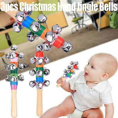 Christmas Hand Bells Jingle Instrument Musical Kids Children Percussion Toy Kid* • 6.39£