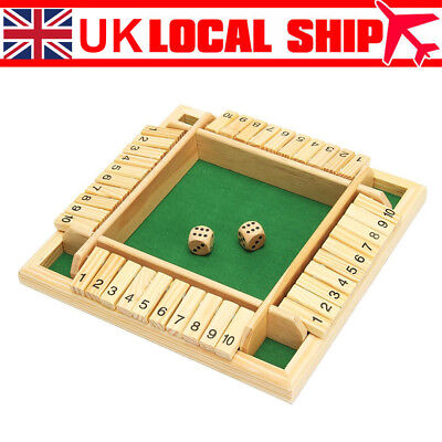 New Shut The Box Game Wooden Board Number Drinking Dice Toy Family Game Fun UK • 10.29£