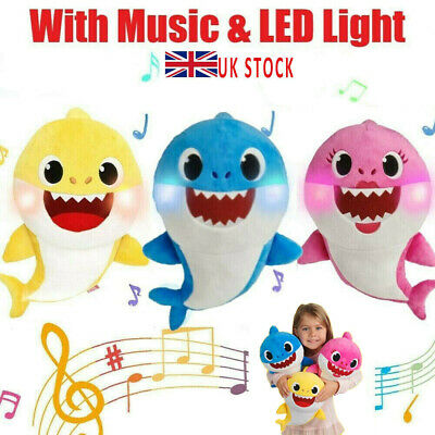 Baby Cartoon Plush Shark Toys Soft Singing Dolls Cute Gift For Kids Boys Girls • 6.99£