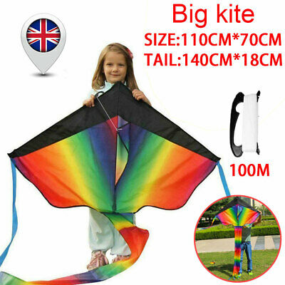 Huge Rainbow Flying Kite With 100M String Kids Outdoor Game Fun Child Toy Gift • 7.55£