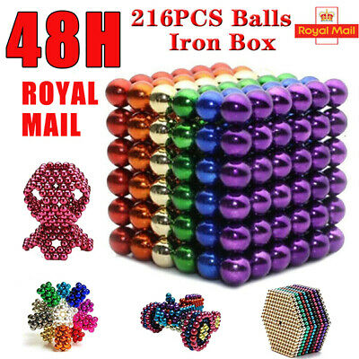 216Pcs 3mm 5mm Magnetic Magic Beads 3D Puzzle Ball Magnetic Sphere Adults+ Box • 6.98£