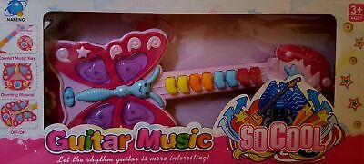 PRINCESS KIDS PINK BUTTERFLY Guitar Toy Instrument With Light Music Girls Toys • 9.99£