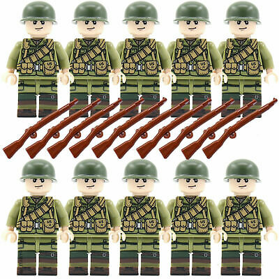 10 American WWII Mini Figures Army CUSTOM LEGO  Soldiers Troops UK WW2 • 9.50£