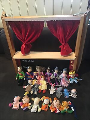 ELC Wooden Folding Puppet Theatre Company With Hand Puppets • 49.99£