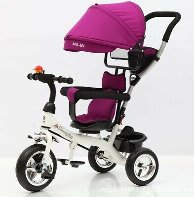 4-in-1 Baby Kids Ride On Trike Tricycle Toddler 3 Wheels Bike With Canopy & Push • 56.98£