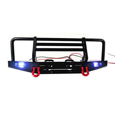 Metal Front Bumper With LED Light For 1/10 RC Crawler TRX4 SCX10ⅠⅡ 90046 Parts • 20.88£