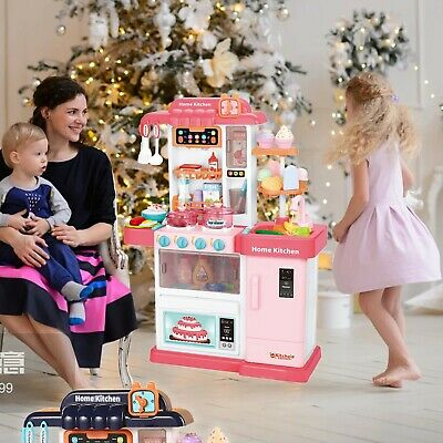 Role Play Kids Kitchen Playset With Real Cooking Water Boiling Sounds Xmas Gift • 26.99£