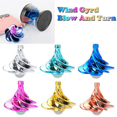 Spinning Top Wind Gyro Wind Blow Turn Airflow Gyro Decompression Daily Toys Gift • 3.99£