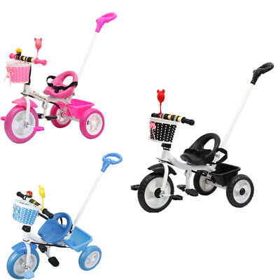 First Trike 3 Wheel Bike For Kids 3 Colours Parent Handle Push Along Tricycle UK • 29£