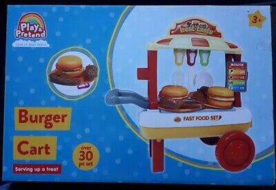 Play And Pretend Burger Cart • 19.95£
