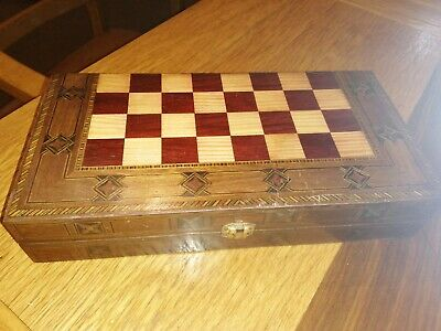 3 In 1 Wooden Folding Chess / Backgammon / Checkers / Draughts Board • 21£