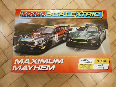 Micro Scalextric Maximum Mayhem Boxed Set Aston Martin DBR9 Complete Tested • 20£