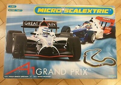 Micro Scalextric A1 Grand Prix Set GB V France Complete Tested & Working • 20£