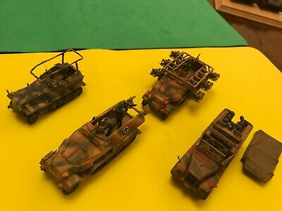 1/72 Scale Half Track Military Vehicles Vintage Professionally Built + Decorated • 14.99£