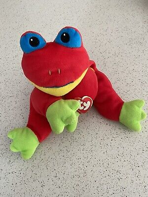 TY Pillow Pals Ribbit The Red Frog 1999 4th Generation ST 1998 TT Vgc • 4£
