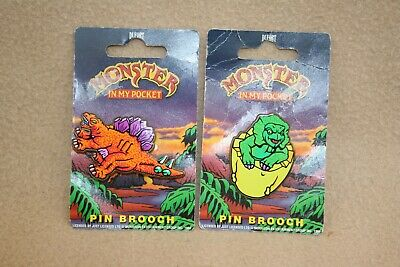 X 2 1994 Dufort Monster In My Pocket Pin Brooches On Cards • 16.99£