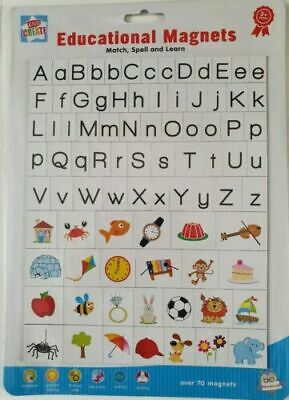 Educational Magnetic Letters Sheet Match Spell Alphabet Toy Fridge Magnets 70+ • 2.99£