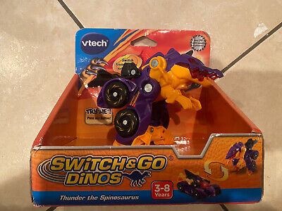 VTech Switch & Go Dinos Thunder The Spinosaurus Yellow Dinosaur Car • 6£