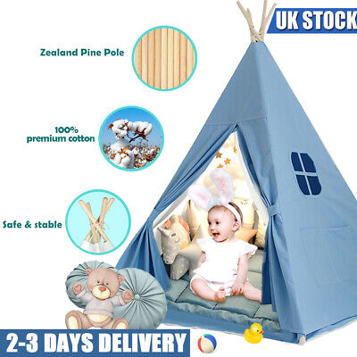 UK Large Canvas Children Indian Tent Teepee Kid Indoor Outdoor Play House Blue • 21.99£
